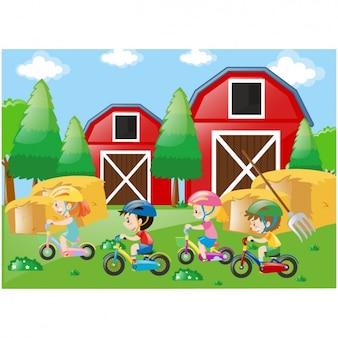Niños jugando en la granja