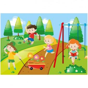 Niños jugando en la pradera
