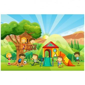 Niños jugando en un parque infantil