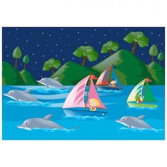 Niños navegando por el río