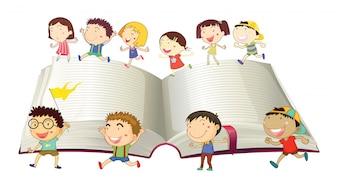 Niños, niñas, corriente, libro, ilustración