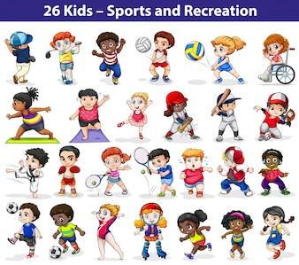 Niños participando en diferentes actividades de interior y al aire libre sobre un fondo blanco