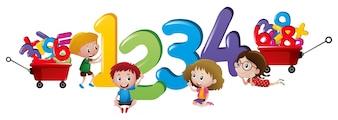 Niños que cuentan los números uno a cuatro