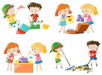 Niños que hacen diferentes actividades