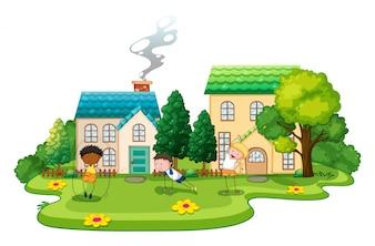 Niños que hacen ejercicios delante de la ilustración de las casas