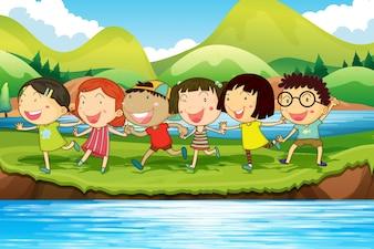 Niños que se divierten en la ilustración del estanque