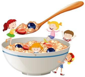 Niños y avena con bayas ilustración