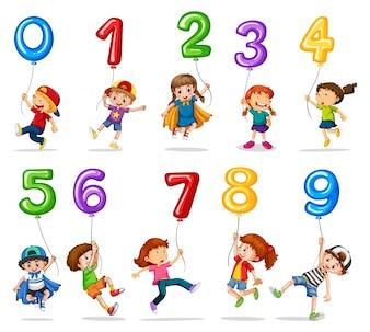Niños y globos de uno a nueve