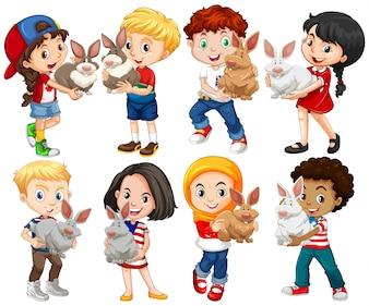 Niños y niñas con la ilustración de conejo de mascota