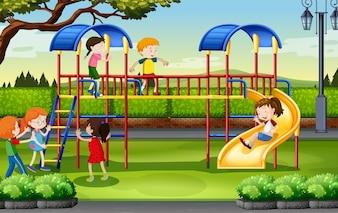 Niños y niñas jugando en el patio de recreo ilustración
