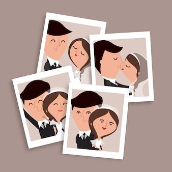 Niza dibujados a mano par de fotos de la boda