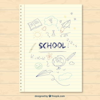 Nota de papel de colegio dibujada a mano