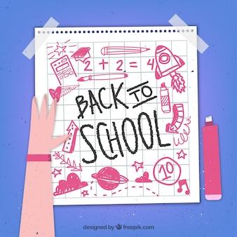 Nota de papel vuelta a la escuela