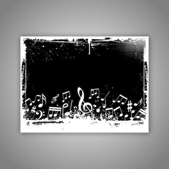 Notas de la música sobre fondo grunge