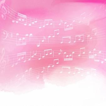 Notas de la música sobre un fondo de color rosa de la acuarela