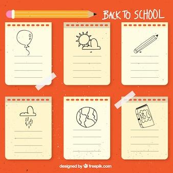 Notas de papel de la vuelta al colegio