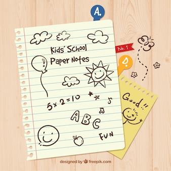 Notas de papel del colegio de niño
