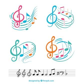 Notas musicales coloridas con pentagramas abstractos