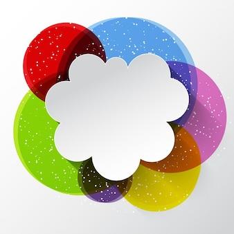 Nube de pensamiento sobre círculos de colores