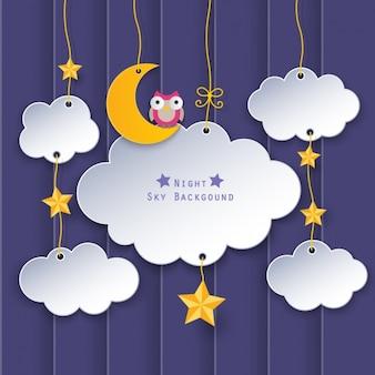 Nubes con una luna y un búho