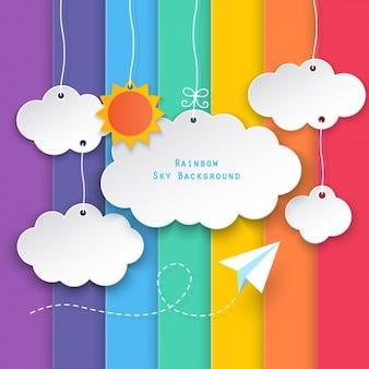 Nubes en un fondo de barras de colores