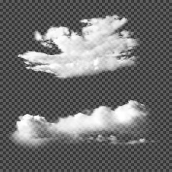 Nubes realistas sobre fondo transparente