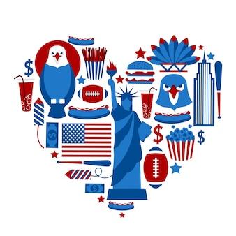 Nueva York, EE.UU., amor, viaje, concepto, águila, hamburguesa, cola, béisbol, palo, vector