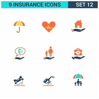 Nueve bonitos iconos para seguros