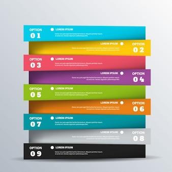 Nueve coloridas opciones para infografías