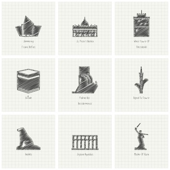 Nueve monumentos dibujados a mano