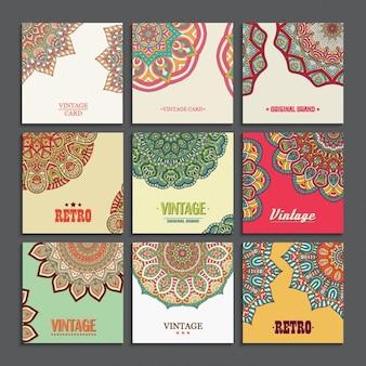 Nueve tarjetas decoradas con mandalas