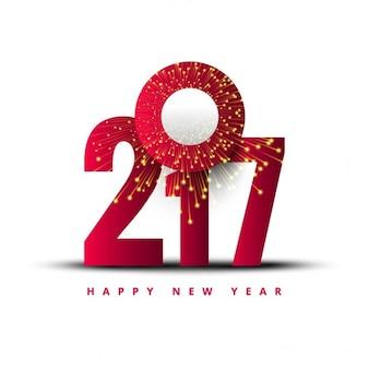 Números rojos sobre un fondo blanco para año nuevo
