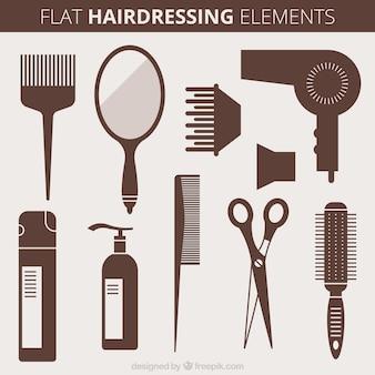 Objetos de peluquería en estilo plano
