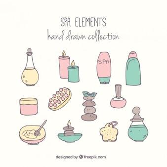 Objetos de spa dibujados a mano