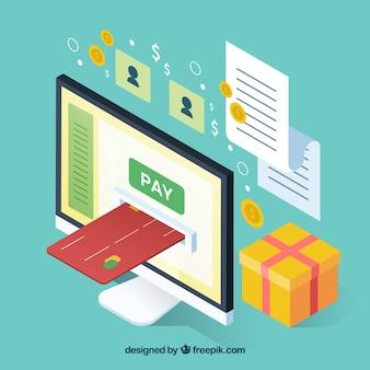 Objetos isométricos acerca del pago online