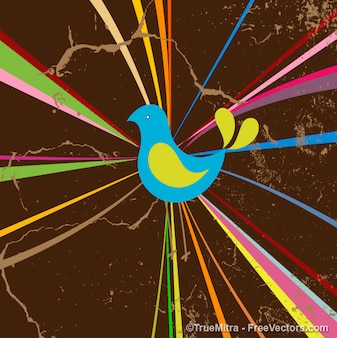 Obra paquete de vectores fondo pájaro