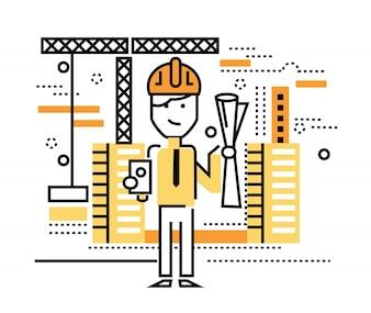 Obrero de construcción de pie en el sitio de construcción. elementos de diseño de líneas delgadas planas. ilustración vectorial