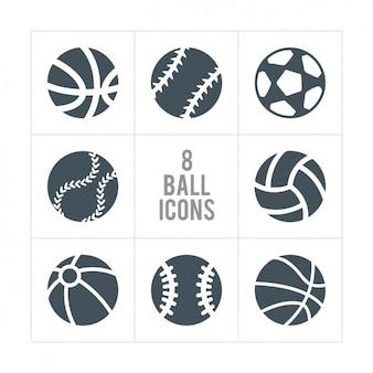 Ocho iconos de pelotas