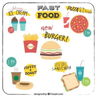 Ofertas de menú de comida rápida plana