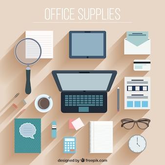 Oficina colección de accesorios en diseño plano