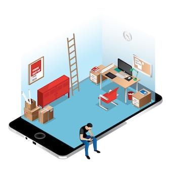 Oficina con perspectiva isométrica sobre pantalla de iphone