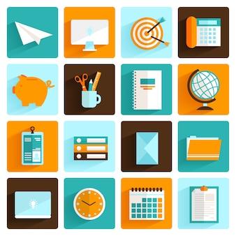 Oficina de iconos de escritorio plana conjunto de pasar carpetas reloj y papelería aislados ilustración vectorial