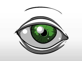 Ojo verde brillante vector boceto