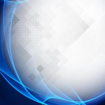 Onda abstracta moderna azul sobre fondo geométrico