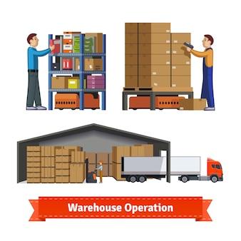 Operaciones de almacén, trabajadores y robots