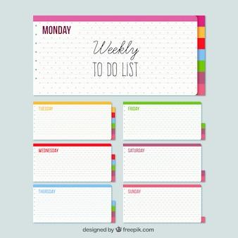 Organizador semanal con notas