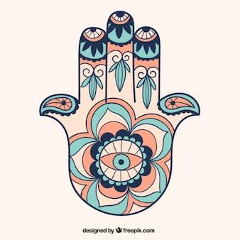 Ornamento de la mano de fátima dibujada a mano