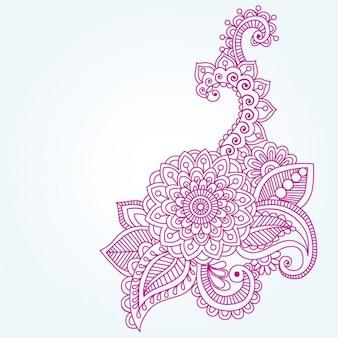 Ornamento floral indio de Henna