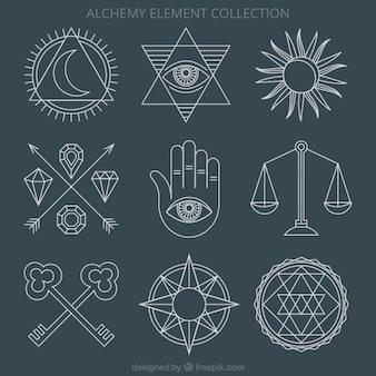 Ornamentos de ciencia y símbolos