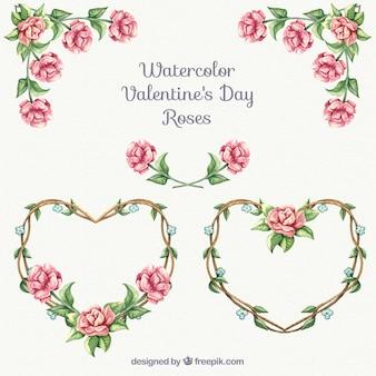 Ornamentos de rosas para San Valentín